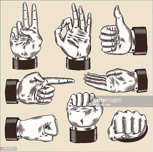 ilustrações, clipart, desenhos animados e ícones de mãos de negócios conjunto - apontando sinal manual