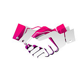 Business handshake / contract agreement sign illustration. Vecto
