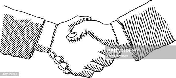 illustrations, cliparts, dessins animés et icônes de poignée de main de tirage au sort d'affaires - main noir et blanc