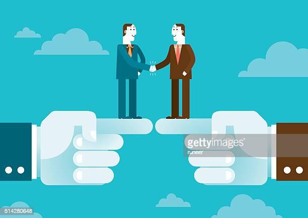 ilustraciones, imágenes clip art, dibujos animados e iconos de stock de apretón de manos sobre la calzada del gigante manos/nuevo concepto de negocios - patrocinador