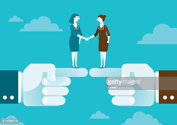 bildbanksillustrationer, clip art samt tecknat material och ikoner med business handshake on giant's hands | new business concept - sponsra