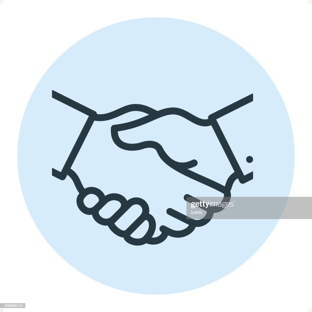 Business Handshake - Pixel-perfekte Zeile-Symbol : Stock-Illustration