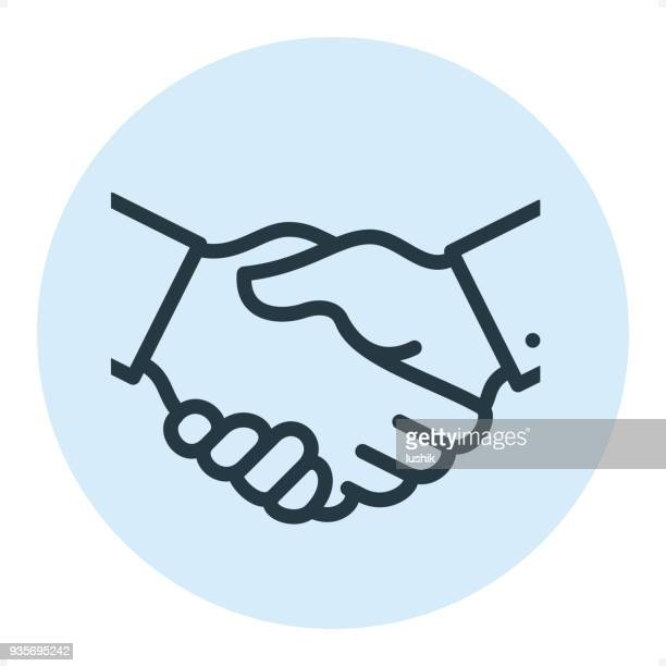 business handshake - pixel perfect single line icon - colleague stock illustrations