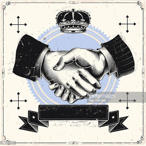 business handshake - printed sleeve stock illustrations