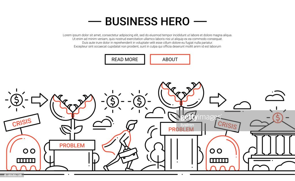 Business Hero - line design website banner temlate