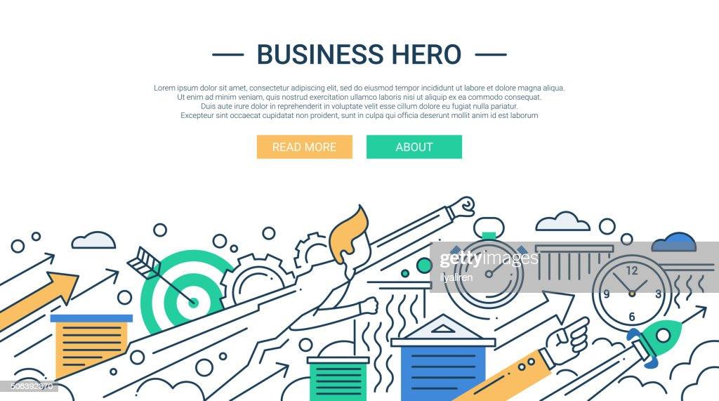 Business hero line flat design banner with superhero businessman.