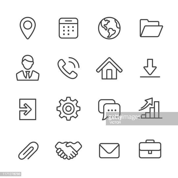 business homepage icons - line series - arranging stock illustrations
