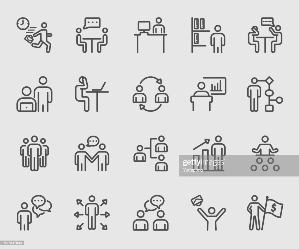 Business human and Work line icon
