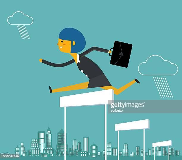 ilustraciones, imágenes clip art, dibujos animados e iconos de stock de vallista de negocios - agilidad