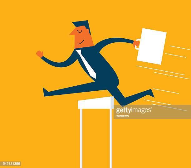 ilustrações de stock, clip art, desenhos animados e ícones de negócio atleta de 110 metros com barreiras - salto em comprimento