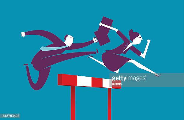 business hurdler - competitive sport stock illustrations, clip art, cartoons, & icons