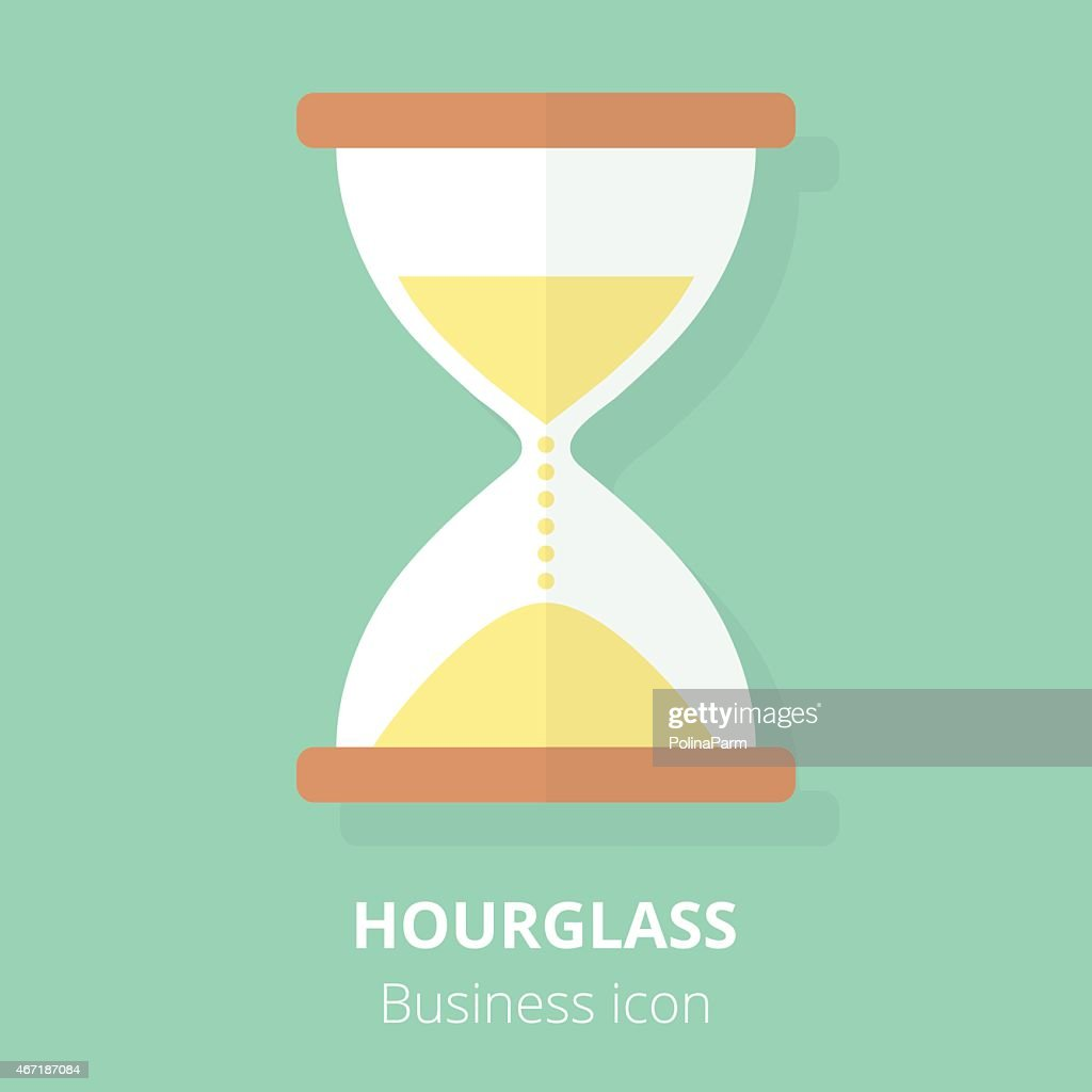 Business icon. Hourglass. Flat vector illustration.