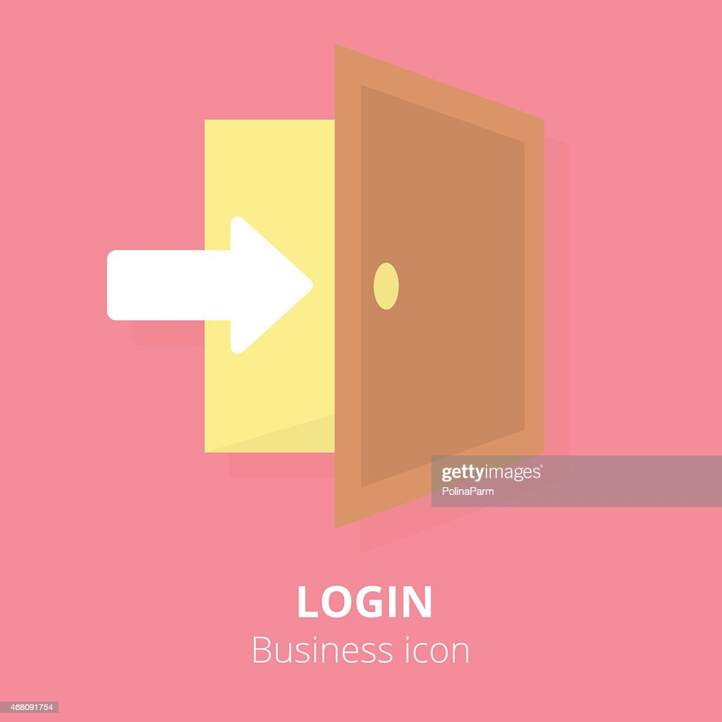Business icon. Login. Flat vector illustration.