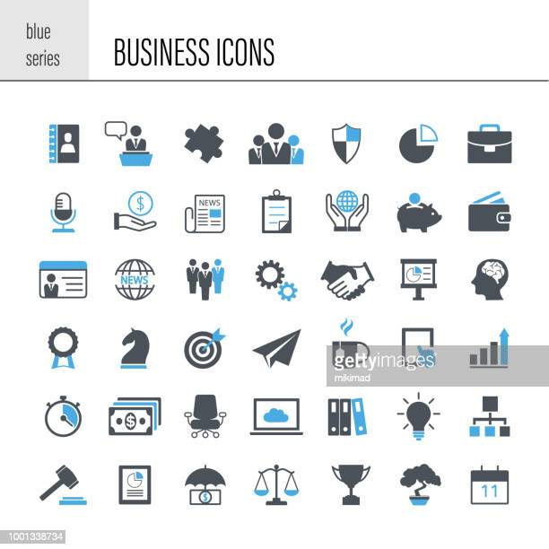 illustrazioni stock, clip art, cartoni animati e icone di tendenza di business icon set - parte di una serie