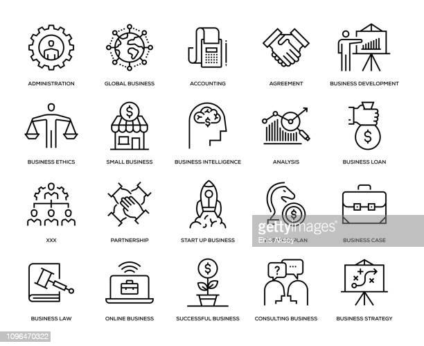 business icon set - partnership teamwork stock illustrations