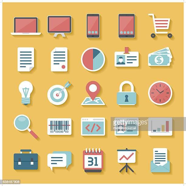 ilustrações de stock, clip art, desenhos animados e ícones de negócio conjunto de ícones - online advertising