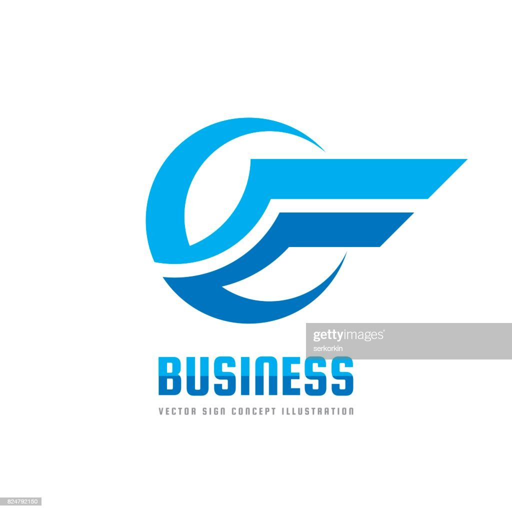 Business icon template creative illustration. Wing abstract vector sign. Transportation icon. Circle and stripes design element