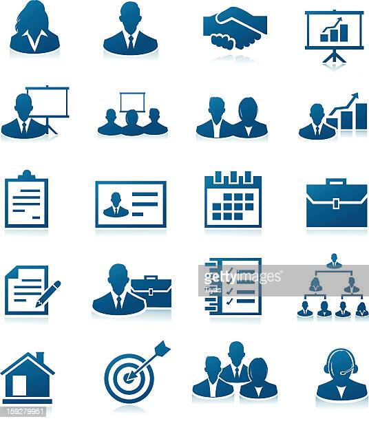 business icons colored in blue and isolated on white - corporate hierarchy stock illustrations, clip art, cartoons, & icons