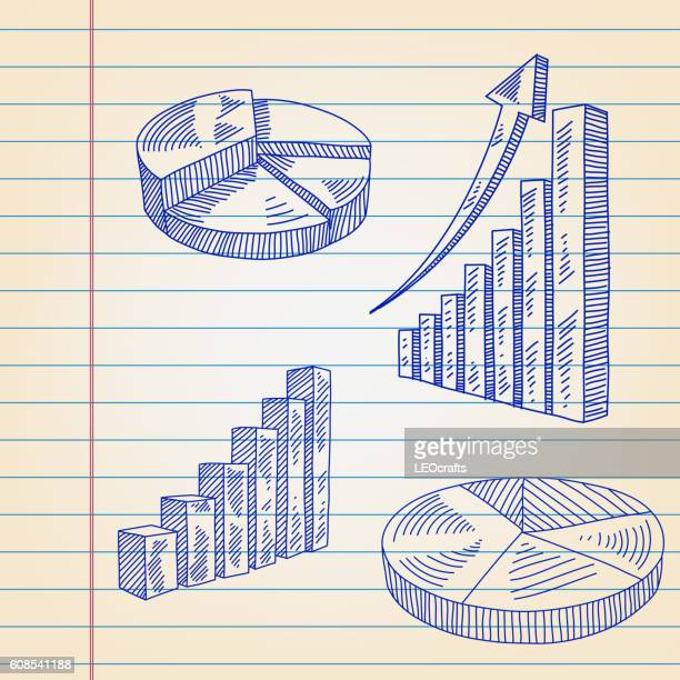 Business Icons drawing on ruled paper