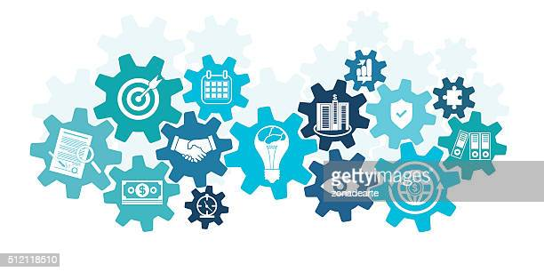 business icons in cog wheel - order stock illustrations