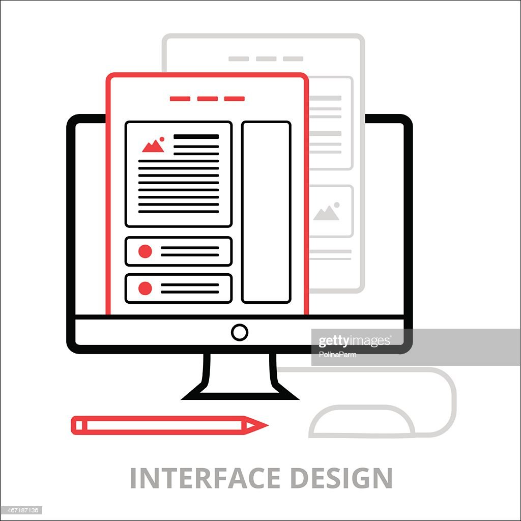Business icons. Interface design. Flat vector illustration. Outlined IT icons