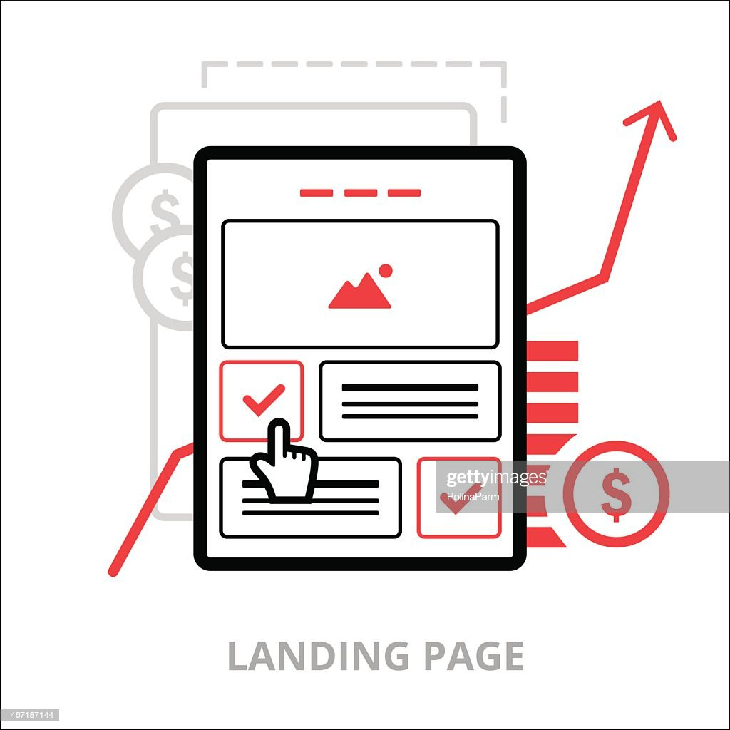 Business icons. Landing page. Flat vector illustration. Outlined IT icons