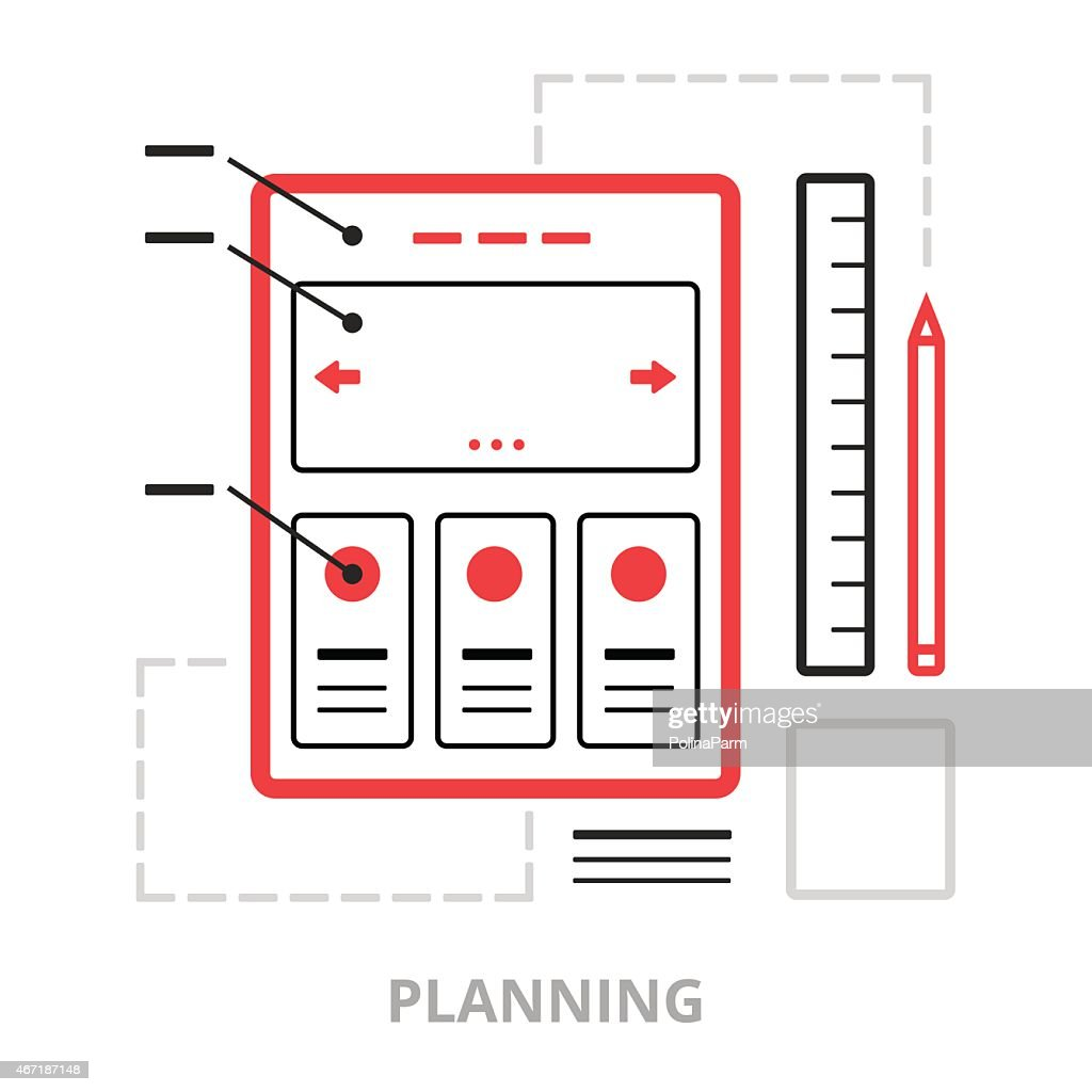 Business icons. Planning. Flat vector illustration. Outlined IT icons