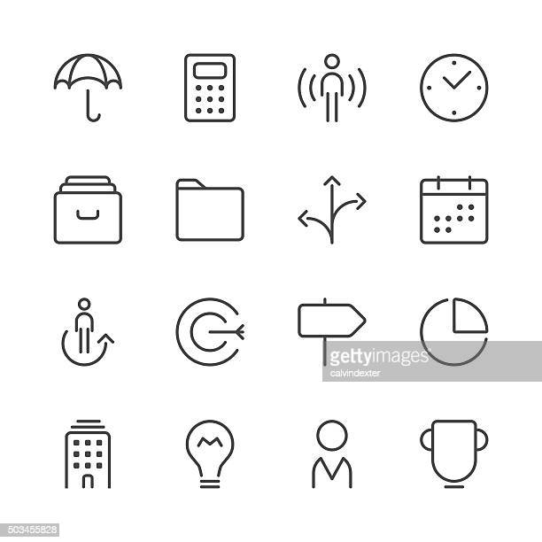 business icons set 1 | black line series - filing cabinet stock illustrations, clip art, cartoons, & icons