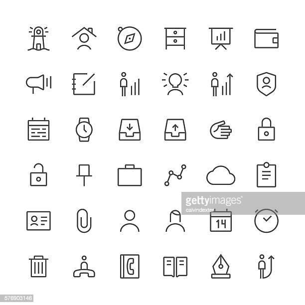 business icons set 1 | thin line series - 発送書類入れ点のイラスト素材/クリップアート素材/マンガ素材/アイコン素材