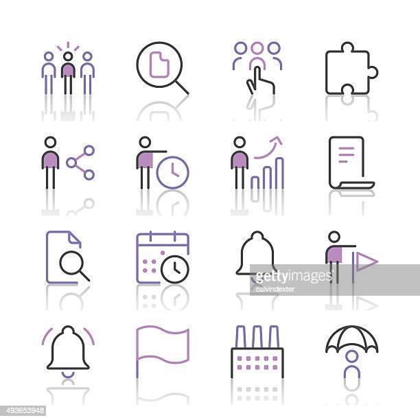 Icônes d'affaires set 4 (ligne violette series