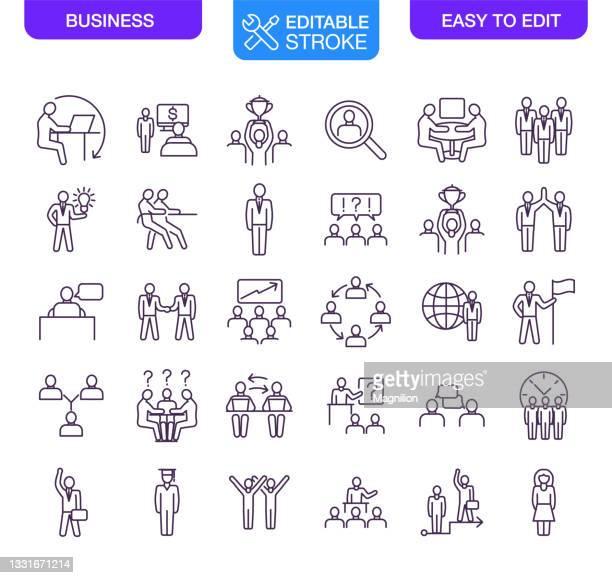 bearbeitbare kontur für geschäftssymbole festlegen - fokusgruppe stock-grafiken, -clipart, -cartoons und -symbole