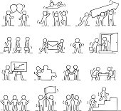 Business icons set of sketch working little people