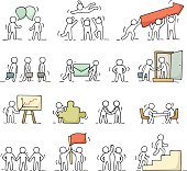Business icons set of sketch working little people with puzzle,