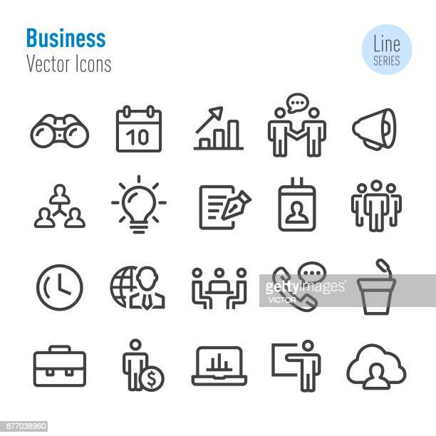 illustrations, cliparts, dessins animés et icônes de business icons set - vecteur ligne série - groupe de personnes