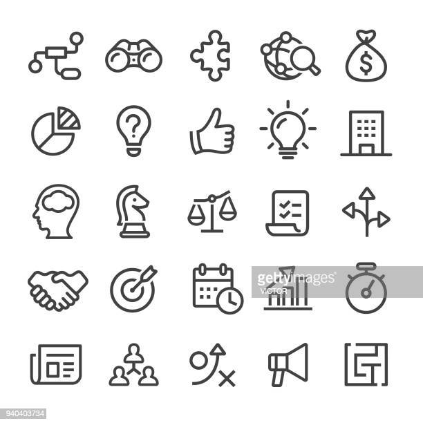 business icons - smart line series - strategy stock illustrations, clip art, cartoons, & icons
