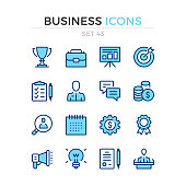 Business icons. Vector line icons set. Premium quality. Simple thin line design. Stroke, linear style. Modern outline symbols, pictograms.