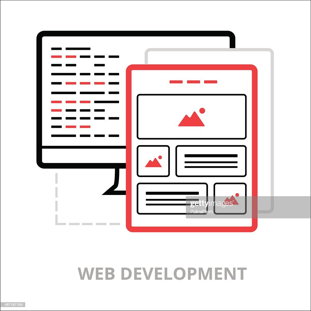 Business icons. Web development. Flat vector illustration. Outlined IT icons