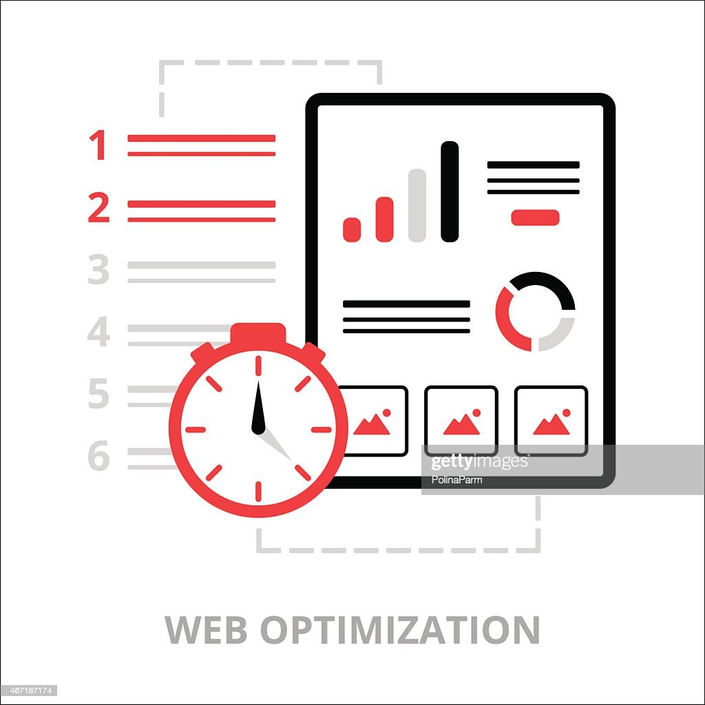 Business icons. Web optimization. Flat vector illustration. Outlined IT icons