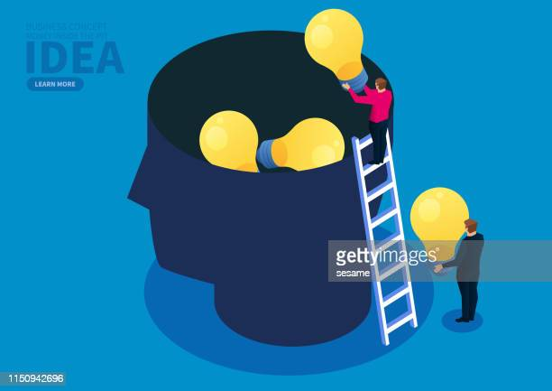 business idea, businessman puts the light bulb into the brain - authority stock illustrations