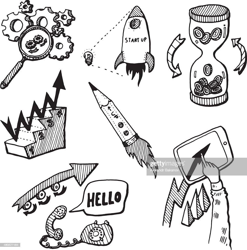 Business Idea concept doodles icons set sketch : Vectorkunst