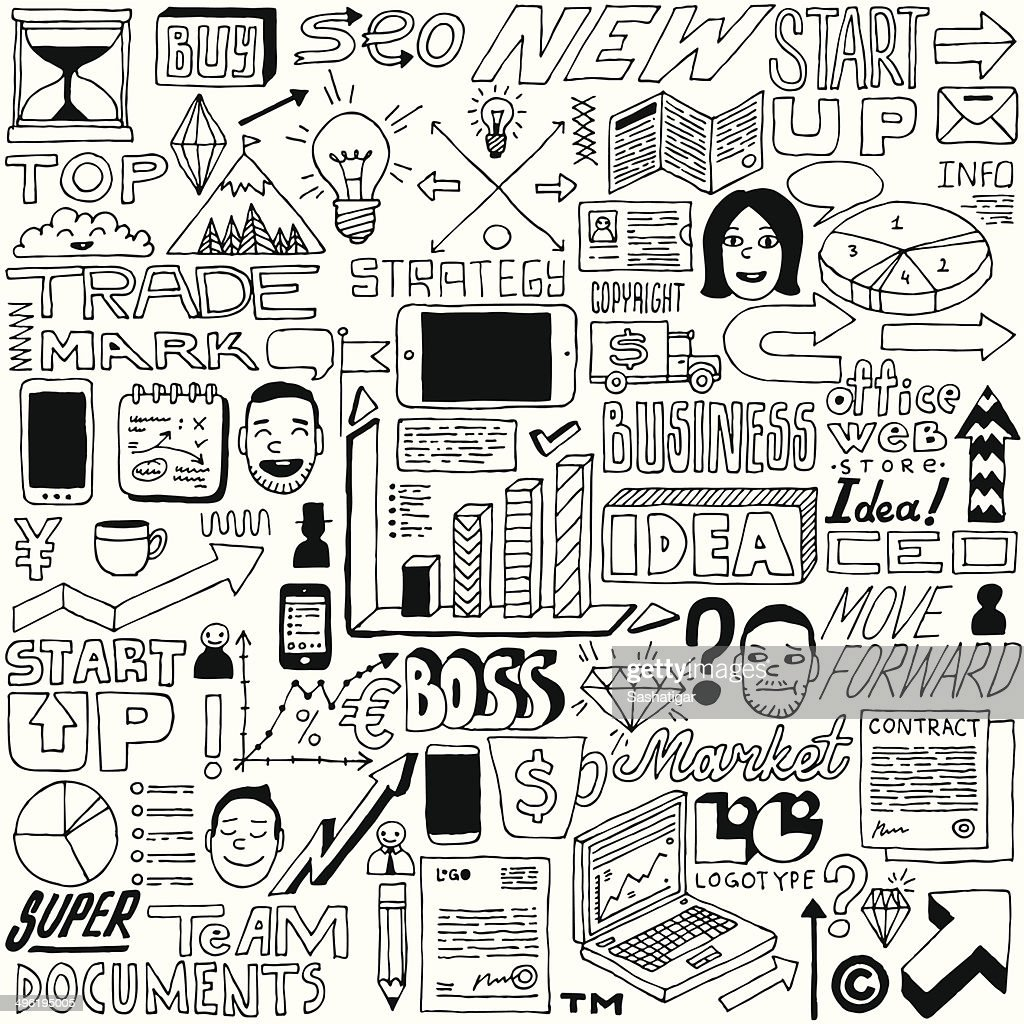 Business idea doodle set. Vector illustration.
