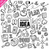 Business Idea Editable Stroke Doodle Vector Illustration.