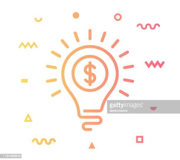 ビジネスアイデアラインスタイルアイコンデザイン - ドル記号点のイラスト素材/クリップアート素材/マンガ素材/アイコン素材