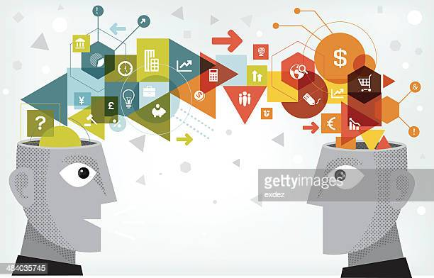 business idea sharing - editorial stock illustrations