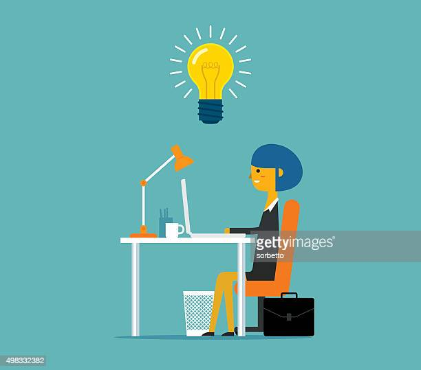 business idea - using laptop stock illustrations