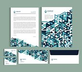 Business identity design templates. Stationery set -  Letterhead A4 template, name card (3,5 x 2), envelope (8.66 x 4.33), presentation folder(9 x 12) with geometric pattern. Vector illustration.