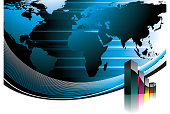 Business illustration with world map