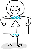 Business image concept - funny stickman holding a board with up-arrow icon. Vector.