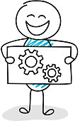 Business image concept - funny stickman holding a board with wheel (cog) icon. Vector.