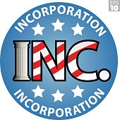 Business Incorporation emblem with american flag motif and greek pillar